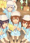 1boy 6+girls akatsuki_(kantai_collection) black_hair blue_eyes blue_shirt box brown_eyes brown_hair cabbie_hat cardboard_box character_request commentary cosplay faceless faceless_female flag flat_cap folded_ponytail grey_hat grey_shorts hair_between_eyes hat hataraku_saibou hibiki_(kantai_collection) highres holding holding_flag ikazuchi_(kantai_collection) inazuma_(kantai_collection) jacket kantai_collection key_kun long_hair looking_at_viewer multiple_girls open_mouth platelet_(hataraku_saibou) platelet_(hataraku_saibou)_(cosplay) pointing purple_eyes purple_hair red_blood_cell_(hataraku_saibou) red_blood_cell_(hataraku_saibou)_(cosplay) red_jacket sakawa_(kantai_collection) shirt short_hair shorts signature silver_hair twitter_username white_blood_cell_(hataraku_saibou) white_blood_cell_(hataraku_saibou)_(cosplay) white_hat