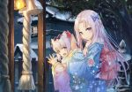2girls animal_ear_fluff animal_ears azur_lane bangs bell blue_bow blue_eyes blue_kimono blurry blush bow breath building cat_ears closed_mouth depth_of_field eyebrows_visible_through_hair fence floral_print forehead from_side fur-trimmed_sleeves fur_collar fur_trim grey_hair hair_bow haitang hammann_(azur_lane) hands_up house japanese_clothes jingle_bell kimono long_hair long_sleeves looking_at_viewer looking_to_the_side multiple_girls night obi own_hands_together parted_bangs praying print_kimono purple_eyes rope sash shiny shiny_hair sidelocks smile snow stone_lantern symbol_commentary tree upper_body v-shaped_eyebrows very_long_hair wide_sleeves winter yorktown_(azur_lane)