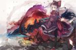 1girl bangs black_legwear breasts closed_mouth commentary dress explosion eyebrows_visible_through_hair fang fang_out frilled_dress frills highres holding long_hair long_sleeves looking_at_viewer mary_janes mitu_yang neck_ribbon outstretched_arm overlord_(maruyama) ponytail purple_dress red_eyes red_footwear red_ribbon ribbon shalltear_bloodfallen shoes silver_hair small_breasts solo standing standing_on_one_leg symbol_commentary thighhighs very_long_hair