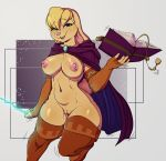 2018 absurd_res anthro areola armwear avante92 bianca_(spyro) blonde_hair blue_eyes book breasts buckteeth cape clothing digital_media_(artwork) female hair hi_res holding_book holding_object lagomorph legwear looking_at_viewer mammal navel nipples open_mouth pink_nose pussy rabbit solo spyro_the_dragon teeth video_games wand
