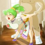 animated arm_grab ass bent_over blush bouncing_breasts breasts china_dress chinese_clothes clothed_sex crown cum doggystyle dress ds-djinn earrings estpolis_denki green_eyes green_hair hair_ornament jewelry legs lufia melphis moaning open_mouth ponytail princess rough_sex saliva sex thighs tied_hair tongue