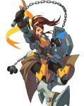 1girl :d armor ball_and_chain boots breastplate brigitte_(overwatch) brown_eyes brown_gloves brown_hair clenched_hand floating_hair freckles gauntlets gloves holding holding_shield holding_weapon kotatsu_(g-rough) looking_at_viewer open_mouth overwatch ponytail shield simple_background smile solo waist_cape weapon white_background