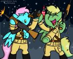 2018 alcohol beverage clothed clothing digital_media_(artwork) fan_character female fur gun hair holding_object holding_weapon male mammal my_little_pony open_mouth pokefound ranged_weapon simple_background smile standing weapon