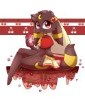 anthro beverage big_eyes blush bubble canine cherry choker clothing crop_top dark eeveelution fantasy featureless_feet female food fruit fur gem hair hashu invalid_tag looking_at_viewer lucina_(hashu) mammal nintendo pokémon pokémon_(species) red_eyes shirt short_hair sitting smile soda solo thick_thighs umbreon video_games white_mage
