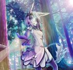 1girl animal_ears arina_chaika bow cora dress forest gloves highres lamp nature one_eye_closed original short_hair sleeveless sleeveless_dress smile tail