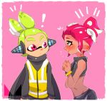 ! alternate_hairstyle black_eyes black_shirt black_skin blush bracelet chichi_band closed_mouth crop_top dark_skin from_side frown green_hair hair_up hands_together headgear heart inkling interlocked_fingers jewelry looking_at_viewer makeup mascara midriff nintendo notice_lines octarian octoling pink_background pointy_ears purple_eyes red_hair shirt short_hair smile splatoon splatoon_2 splatoon_2:_octo_expansion squidbeak_splatoon standing sweatdrop tentacle_hair topknot upper_body vest watermark yellow_vest