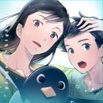 1boy 1girl 2018 :o aoyama-kun_(penguin_highway) bird black_hair blue_background blue_eyes bubble copyright_name dated long_hair onee-san_(penguin_highway) penguin penguin_highway purple_eyes upper_body wata_fooling
