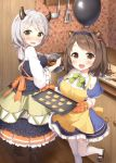 2girls :d baking bangs black_skirt blue_capelet blue_legwear blue_skirt blush boots bow bowl breasts brown_eyes brown_footwear brown_hair camieux capelet commentary_request cookie counter draph eyebrows_visible_through_hair food frying_pan granblue_fantasy hair_bobbles hair_ornament heart holding holding_bowl horns indoors kitchen_knife ladle large_breasts long_hair long_sleeves looking_at_viewer looking_to_the_side masuishi_kinoto mixing_bowl multiple_girls nose_blush open_mouth oven_mitts pantyhose plaid shirt shoes silver_hair skirt smile spatula standing standing_on_one_leg thighhighs unmoving_pattern white_legwear white_shirt wide_sleeves wooden_floor yaia_(granblue_fantasy) yellow_bow