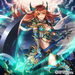 1girl axe blue_gloves bracer breasts chains cloud esukee gloves greaves green_eyes holding holding_axe kaizoku_ookoku_koronbusu long_hair looking_at_viewer medium_breasts navel official_art red_hair slashing solo standing watermark