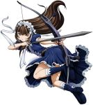 1girl arrow bangs belt black_hair blunt_bangs bow bow_(weapon) dress female fighting_stance fingernails flat_chest frills gothic_lolita hairband ikkitousen jumping lolita_fashion lolita_hairband long_hair looking_at_viewer ribbon shiny solo ten'i_(ikkitousen) weapon