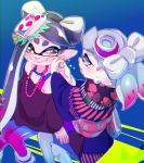 +_+ 2girls 80s adjusting_earrings alternate_costume aori_(splatoon) black_hair black_kimono black_shirt blue_legwear brown_eyes chichi_band closed_mouth commentary_request cousins earrings food food_on_head grey_hair hotaru_(splatoon) japanese_clothes jewelry kimono long_hair long_sleeves looking_at_another loose_socks multicolored multicolored_clothes multicolored_legwear multiple_girls necklace nintendo object_on_head off-shoulder_shirt oldschool pantyhose pointy_ears print_kimono shirt short_hair sitting smile sparkle splatoon standing tank_top wide_sleeves