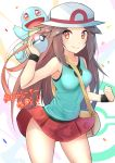 1girl aqua_skirt bag bare_shoulders blue_(pokemon) blush breasts brown_hair cowboy_shot creatures_(company) female game_freak gen_1_pokemon hat holding holding_poke_ball japanese_text long_hair looking_at_viewer medium_breasts miniskirt nintendo orange_eyes poke_ball poke_ball_(generic) pokemon pokemon_(game) pokemon_frlg racket_ti1 red_skirt skirt sleeveless smile solo_focus squirtle standing sun_hat super_smash_bros. text_focus translation_request wind wind_lift wristband