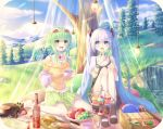 2girls blue_eyes blush cake cup eyewear_on_head food fruit grass green_eyes green_hair gumi hatsune_miku highres long_hair multiple_girls open_mouth outdoors picnic sakakidani sandwich short_hair silver_hair smile tagme teacup teapot tree twintails vocaloid