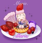 :d bc_freedom_(emblem) bc_freedom_military_uniform berries black_footwear blonde_hair blue_jacket blue_vest blueberry boots chaki_(teasets) character_name chibi cream cursive dessert drill_hair emblem eyes_closed facing_viewer fan folding_fan food food_on_face food_on_head food_request fruit girls_und_panzer holding holding_fan jacket knee_boots long_hair long_sleeves marie_(girls_und_panzer) military military_uniform minigirl object_on_head open_mouth plate pleated_skirt purple_background sitting skirt smile sparkle strawberry uniform vest wariza white_skirt