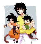 3boys :d :o age_difference black_eyes black_footwear black_hair brothers carrying d: denim dougi dragon_ball dragon_ball_(classic) dragonball_z father_and_son full_body grey_background happy highres index_finger_raised jeans looking_away male_focus multiple_boys nervous nishi1225 open_mouth pants pointing profile shaded_face shirt short_hair siblings simple_background smile son_gohan son_gokuu son_goten spiked_hair standing sweatdrop tail time_paradox two-tone_background upper_body wavy_mouth white_background white_pants wristband yellow_shirt
