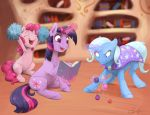2018 book cheerleader cutie_mark earth_pony equine female feral friendship_is_magic group hair horn horse inside library magic mammal my_little_pony pinkie_pie_(mlp) pony silfoe sweat trixie_(mlp) twilight_sparkle_(mlp) unicorn