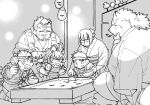 2018 absurd_res angry anthro canine clothing eyes_closed female ginn_tnrnrngnsr greyscale group gyobu hi_res human kneeling leaf male mammal monochrome overweight overweight_male robe scar sitting size_difference tanuki tokyo_afterschool_summoners