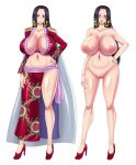1girl areolae black_hair blue_eyes blush boa_hancock breasts breasts_apart cape censored cleavage closed_mouth earrings epaulettes feet full_body groin hand_on_hip heart heart-shaped_pupils high_heels highres huge_breasts inverted_nipples jewelry large_areolae legs legs_apart long_hair looking_at_viewer measurements midriff mikanberry mosaic_censoring navel nude one_piece open_mouth pussy sarong shaved shaved_pussy shiny shiny_clothes shiny_skin simple_background smile snake_earrings standing symbol-shaped_pupils thighs white_background