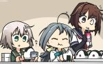 3girls ahoge blue_sailor_collar bodysuit bow bowtie brown_hair commentary_request dated eating elbow_gloves eyes_closed food fur-trimmed_sleeves fur_trim furutaka_(kantai_collection) gloves glowing glowing_eye green_eyes grey_hair hair_between_eyes hair_ornament hairclip halterneck hamu_koutarou heterochromia highres jacket kantai_collection kiyoshimo_(kantai_collection) long_sleeves low_twintails multiple_girls neck_ribbon neckerchief onigiri open_mouth red_neckwear red_ribbon remodel_(kantai_collection) ribbon sailor_collar school_uniform serafuku shimushu_(kantai_collection) shirt short_hair single_elbow_glove tareme twintails upper_body white_shirt
