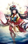 1girl amaterasu_(mythology) antweiyi asymmetrical_legwear bangs black_hair blunt_bangs brown_eyes detached_sleeves fan flower folding_fan full_body hair_flower hair_ornament hair_rings hair_stick highres japanese_clothes kimono kneehighs long_hair parted_lips red_legwear red_skirt single_kneehigh single_thighhigh skirt solo standing standing_on_one_leg tagme thighhighs very_long_hair