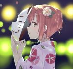 1girl aqua_eyes backlighting blurry blurry_background commentary english_commentary floral_print flower fox_mask from_side hair_flower hair_ornament holding holding_mask japanese_clothes kimono kurosawa_ruby long_sleeves looking_at_viewer looking_to_the_side love_live! love_live!_sunshine!! mask parted_lips print_kimono profile red_hair ru_yue_kong short_hair sidelocks sideways_glance solo upper_body white_flower white_kimono