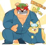 bulldog canine cat coveralls crouching dog dribble feline hyaku1063 male mammal muscular nintendo pecs size_difference spitz_(warioware) thumbs_up video_games warioware
