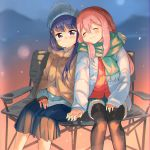 2girls :3 black_legwear blue_hair blue_jacket blue_skirt blurry blush chair closed_mouth depth_of_field eyebrows_visible_through_hair eyes_closed garun_wattanawessako green_scarf hair_between_eyes hand_holding hat head_tilt jacket kagamihara_nadeshiko long_hair long_sleeves looking_at_viewer multiple_girls open_clothes open_jacket pantyhose pink_hair pleated_skirt purple_eyes scarf shawl shima_rin shorts sitting skirt sleeves_past_wrists very_long_hair yurucamp