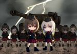 6+girls akaboshi_koume ankle_boots arm_behind_back arms_behind_head black_footwear black_hat black_jacket black_legwear blue_eyes boots brown_eyes brown_hair chibi clenched_hand closed_mouth cloud cloudy_sky commentary crossed_arms dress_shirt emblem extra eyebrows_visible_through_hair frown garrison_cap geshiko_(girls_und_panzer) girls_und_panzer glasses ground_vehicle hat itsumi_erika jacket kuromorimine_military_uniform lightning long_sleeves mauko_(girls_und_panzer) military military_hat military_uniform military_vehicle miniskirt motor_vehicle multiple_girls nishizumi_maho outdoors parade_rest pleated_skirt red_shirt red_skirt ritaiko_(girls_und_panzer) round_eyewear sangou_(girls_und_panzer) shirt short_hair silver_hair skirt sky socks standing_at_attention tank tiger_i toganoo uniform very_short_hair