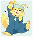 anthro cat clothed clothing coveralls eyewear feline fully_clothed goggles hyaku1063 male mammal nintendo pawpads solo spitz_(warioware) video_games warioware whiskers