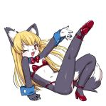 1girl akuma_gaoru blonde_hair flat_chest furry futaba_channel one_eye_closed open_mouth red_eyes senzoc
