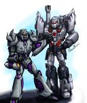 2boys arm_cannon artist_name autobot cannon character_request decepticon deviantart_username glowing hand_up highres insignia machinery mecha megatron megatron_(idw) megatron_(prime) multiple_boys no_humans oldschool open_mouth red_eyes robot science_fiction soundbluster tagme teeth the_transformers_(idw) transformers weapon
