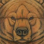 2010 ambiguous_form ambiguous_gender bear brown_eyes brown_fur brown_lips brown_nose cave_bear front_view frown fur gouache_(artwork) headshot_portrait icon lips looking_at_viewer mammal photorealism portrait signature snout solo synnabar traditional_media_(artwork) whiskers