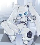 android anthro anus blue_eyes breasts censored digital_media_(artwork) disney drossel_von_flugel female fireball_(series) humanoid machine mouthless nipples not_furry pochincoff presenting pussy robot sitting solo spread_legs spreading text