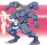 2018 2_toes 5_fingers abs anthro balls biceps big_balls blue_skin bulge clothed clothing cum cum_through_clothing cumshot digitigrade ejaculation fist flexing grin humanoid_penis hungothenomster looking_down machamp male masturbation muscular muscular_male muscular_thighs nintendo nipples orgasm pecs penile_masturbation penis penis_outline penis_shaped_bulge pink_background pokémon pokémon_(species) red_eyes sharp_teeth simple_background smile solo standing teeth thick_penis tight_underwear toes topless two_tone_background underwear video_games white_background