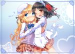 black_hair blonde_hair blush hug kugayama_arisu lily_lyric_cycle long_hair maid nasuno_chiyo open_mouth oribe_ibuki school_uniform short_hair yuri