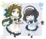 2girls apron artist_name black_hair blue_eyes blue_hair boots bow brown_hair cake chibi cup dated doll_joints dress eyeshadow food garie_tuman green_eyes green_hair hairband hat heart highres kiraki long_hair long_sleeves looking_at_viewer maid maid_apron maid_headdress makeup mary_janes multicolored_hair multiple_girls one_eye_closed open_mouth pale_skin phara_suyuf puffy_short_sleeves puffy_sleeves senki_zesshou_symphogear sharp_teeth shoes short_hair short_sleeves smile teacup teeth tray two-tone_hair wrist_cuffs