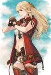 1girl bandeau belt blonde_hair blue_eyes blue_sky boots cowboy_shot earrings final_fantasy final_fantasy_xiv fingerless_gloves fist_in_hand gloves hair_ornament highres jewelry leg_armor long_hair looking_at_viewer lyse_hext makimura_shunsuke midriff navel pendant short_shorts shorts sky sleeveless smile solo standing strapless thigh_boots thighhighs