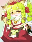 1girl brown_eyes cat character_request fullbokko_heroes furry green_hair japanese_clothes long_hair solo takeshi_kemo