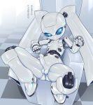 android anus balls blue_eyes breasts dickgirl digital_media_(artwork) disney drossel_von_flugel erection fireball_(series) humanoid intersex looking_at_viewer machine not_furry penis pochincoff presenting robot sitting spread_legs spreading text