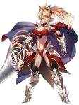 1girl age_progression blonde_hair breasts cape cleavage closed_mouth collarbone commentary_request fate/grand_order fate_(series) full_body green_eyes highres horns large_breasts leotard long_hair looking_at_viewer mordred_(fate) mordred_(fate)_(all) nasaniliu pauldrons ponytail simple_background sword toned weapon white_background