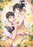 1boy 1girl bare_shoulders black_vest breasts brown_hair cleavage cover cover_page dress earrings flower grey_eyes hetero highres hug jewelry long_hair looking_at_viewer medium_breasts necklace novel_cover original romance shirt smile soyubee twitter_username vest white_shirt yellow_dress yellow_flower