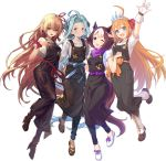 4girls ahoge animal_ears apron arisa_(shadowverse) blue_hair boots company_connection cygames gloves granblue_fantasy hair_ribbon horse_ears horse_tail lyria_(granblue_fantasy) multicolored_hair multiple_girls official_art orange_hair pecorine pointy_ears princess_connect!_re:dive ribbon scrunchie shadowverse special_week tail tiara umamusume