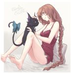 1girl bare_legs bare_shoulders barefoot bed_sheet bell bell_collar blue_eyes bow braid breasts cat celine_(sen_no_kiseki) character_name cleavage collar eiyuu_densetsu emma_millstein grey_background irise_ryouji long_hair medium_breasts nightgown no_eyewear pillow purple_hair sen_no_kiseki simple_background sitting smile spaghetti_strap tail tail_bow