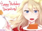 1girl absurdres artist_name blonde_hair blue_eyes cake character_name commentary darjeeling dated english eyebrows_visible_through_hair food fork girls_und_panzer happy_birthday hat highres holding holding_fork holding_plate jewelry light_smile long_hair looking_at_viewer necklace open_mouth plate portrait red_shirt shiroobi_(whitebeltmaster) shirt solo watermark wind wind_lift yellow_hat