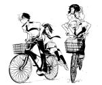 2boys 2girls :d :o bicycle bicycle_basket black_legwear black_pants boku_no_hero_academia burn_scar greyscale ground_vehicle jirou_kyouka kaminari_denki karasumi_(aiseec) kneehighs long_hair looking_at_another monochrome multiple_boys multiple_girls multiple_riders necktie open_mouth pants riding scar school_uniform shoes short_hair sitting skirt smile todoroki_shouto u.a._school_uniform yaoyorozu_momo