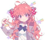 1girl antenna_hair bangs blazer blush bow bowtie commentary_request eyebrows_visible_through_hair gekkan_shoujo_nozaki-kun hair_between_eyes hair_bow holding holding_hair inhye jacket long_hair looking_at_viewer messy_hair orange_hair polka_dot polka_dot_bow purple_eyes rouman_academy_uniform sakura_chiyo school_uniform simple_background solo star upper_body wavy_mouth white_background