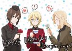 ! 3girls blonde_hair blush bomber_jacket braid brown_eyes brown_hair character_name commentary cup darjeeling eyebrows_visible_through_hair eyes_closed floral_background flower french_braid garrison_cap girls_und_panzer hair_between_eyes hair_intakes happy_birthday hat heart jacket kay_(girls_und_panzer) kuromorimine_military_uniform long_hair multiple_girls nishizumi_maho red_flower red_rose rose saucer saunders_military_uniform short_hair smile spoken_exclamation_mark spoken_heart st._gloriana's_military_uniform teacup white_flower white_rose wide-eyed yuuhi_(arcadia)