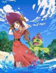1girl :d absurdres arms_up beach belt belt_buckle blue_sky brown_belt buckle capelet cloud cloudy_sky currynoodle day digimon digimon_adventure dress gloves hair_intakes hands_on_headwear hat highres long_hair open_mouth orange_eyes outdoors palmon partially_submerged pink_hat ponytail red_capelet red_dress sky smile solo sparkle tachikawa_mimi teeth tree water yellow_gloves