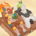 2018 anthro argon_vile balls beach beverage casual_nudity chair coconut digital_media_(artwork) drinking duo flaccid food fruit holding_beverage humanoid_penis infernape looking_aside male mammal nintendo nude passimian penis penis_size_difference pokémon pokémon_(species) primate reclining relaxing sand seaside smile spread_legs spreading straw uncut unretracted_foreskin video_games