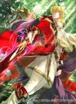 1boy black_cape blonde_hair boots cape coat collar collared_cape cravat eltoshan_(fire_emblem) fire_emblem fire_emblem:_seisen_no_keifu fire_emblem_cipher forest from_below holding holding_sword holding_weapon horse knee_boots lips looking_at_viewer male_focus medium_hair mystletainn nature nintendo official_art pants red_coat sheath sidelocks solo suzuki_rika sword turtleneck weapon white_footwear white_pants yellow_eyes